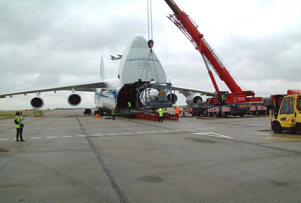 Loading Gas Turbine Rotor to AN124 Charter Aircraft